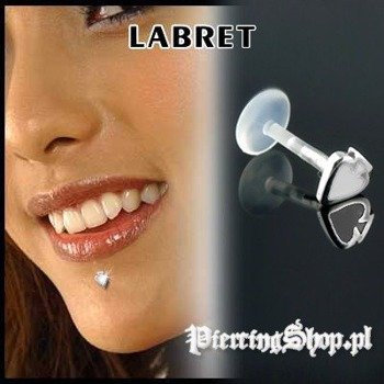 KOLCZYK DO BRODY LABRET(bioplast) PIK kolor oczka BIAŁY [LA-161]