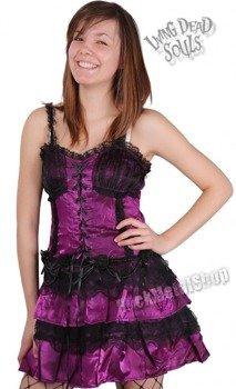 Sukienka gotycka LIVING DEAD SOULS - BLACK ROSES (MEGENTA)