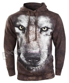 bluza THE MOUNTAIN - WOLF FACE, kangurka z kapturem, barwiona