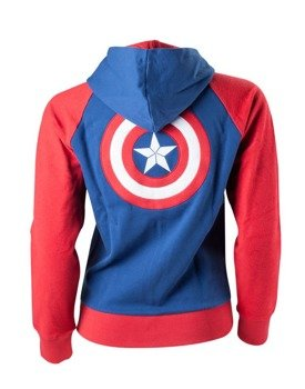 bluza damska CAPTAIN AMERICA - SHIELD LOGO, rozpinana z kapturem
