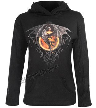 bluza damska DRAGON LORD czarna, z kapturem