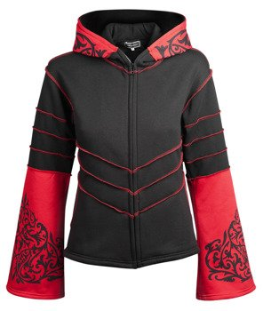 bluza damska HEXAGON - BLACK & RED rozpinana, z kapturem