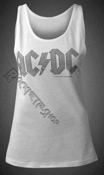 bluzka damska AC/DC - CLASSIC LOGO WHITE,na ramiączkach cyrkonie