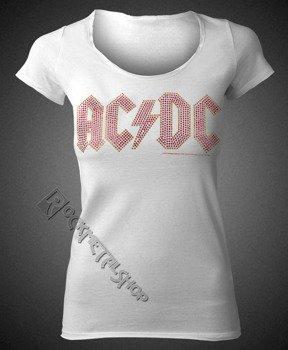 bluzka damska AC/DC - LOGO WHITE RED, cyrkonie