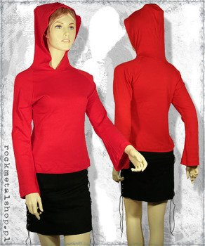 bluzka damska z kapturem CZERWONA