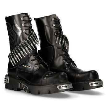 buty NEW ROCK ITALI NEGRO, ANTIK NEGRO, PULIK ACERO, NEW REACTOR [297-S1]
