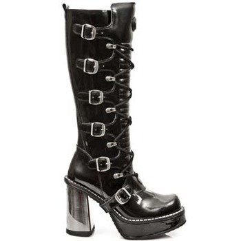 buty damskie NEW ROCK Vinilo Negro Circle Plataforma Tacon Acero [ 9908 - S2]