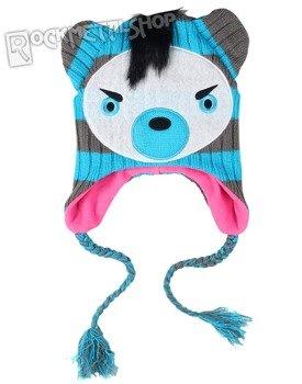 czapka zimowa FREAKS AND FRIENDS - BLUE/GREY STRIPED BEAR