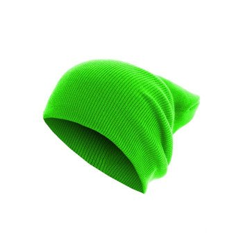 czapka zimowa MASTERDIS - BEANIE BASIC FLAP LONG neongreen