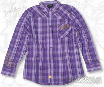 koszula damska  IRON FIST - PEG LEG  (PURPLE PLAID)