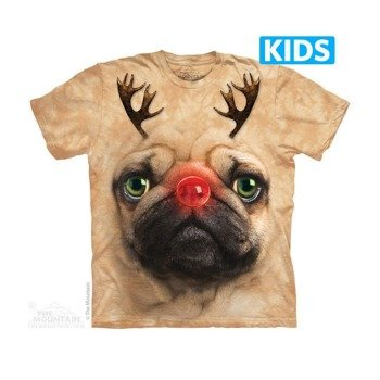 koszulka dziecięca THE MOUNTAIN - PUG REINDEER, barwiona