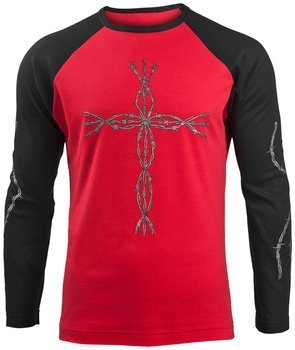 longsleeve BARBED CROSS czerwono-czarny, firma DARKSIDE