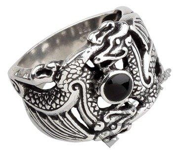 pierścień DOUBLE DRAGON, srebro 925