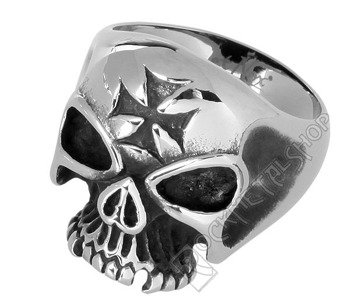 pierścień IRON CROSS SKULL