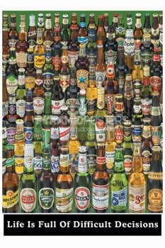 plakat DIFFICULT DECISSIONS - BEER BOTTLES