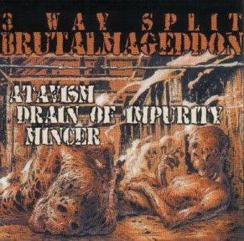 płyta CD: ATAVISM (GRC) / Drain of Impurity / Mincer (Ita) - BRUTALMAGEDDON (3 way split CD)