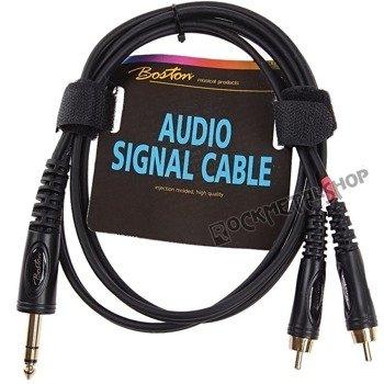 przewód audio BOSTON: 2 x RCA (cinch) -  DUŻY JACK STEREO (6.3mm) / 1,5m