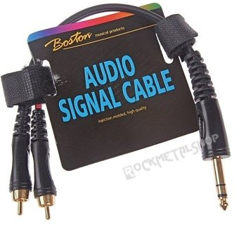 przewód audio BOSTON: 2 x RCA (cinch) -  DUŻY JACK STEREO (6.3mm) / 30cm