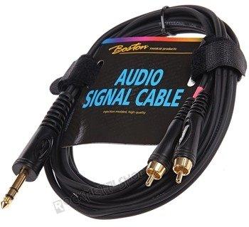 przewód audio BOSTON: 2 x RCA (cinch) -  DUŻY JACK STEREO (6.3mm) / 3m