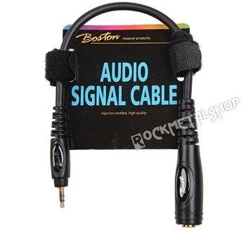 przewód audio BOSTON: gniazdo DUŻY JACK (6.3mm) stereo - MAŁY JACK (3.5mm) stereo / 30cm