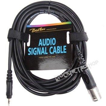 przewód mikrofonowy BOSTON: XLR - MAŁY JACK STEREO (3.5mm) / 6m