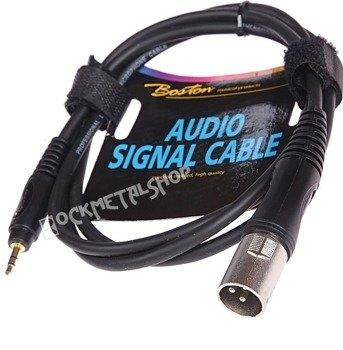 przewód mikrofonowy BOSTON: XLR męski - mały JACK STEREO (3.5mm) / 1,5m