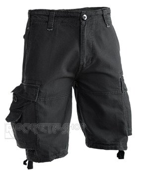 spodnie bojówki krótkie VINTAGE SHORTS - BLACK