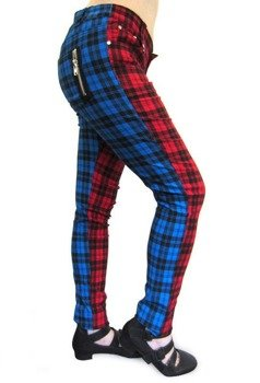 spodnie damskie BANNED - RED/BLUE TARTAN