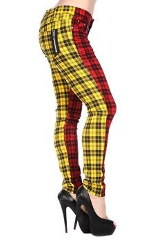 spodnie damskie BANNED - RED/YELLOW TARTAN