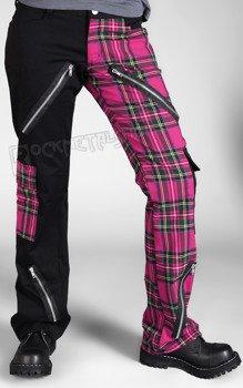 spodnie damskie FREAK PANTS TARTAN BLACK/PINK