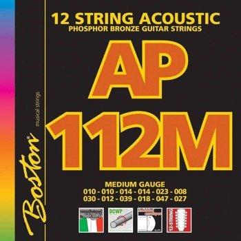 struny do gitary akustycznej 12str. BOSTON AP-112-M PHOSPHOR BROZNE /010-047/