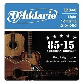 struny do gitary akustycznej 12str. D'ADDARIO EZ940 Light /010-050/