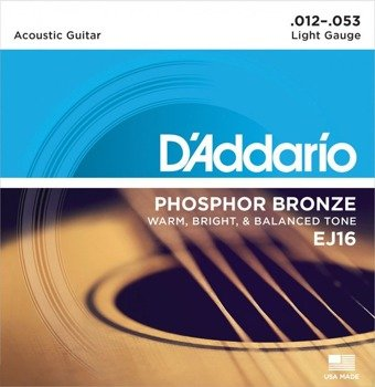 struny do gitary akustycznej D'ADDARIO - Light EJ16 /012-053/