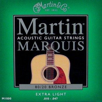struny do gitary akustycznej MARTIN M1000 MARQUIS - 80/20 BRONZE Extra Light /010-047/
