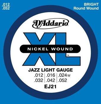 struny do gitary elektrycznej D'ADDARIO EJ21 JAZZ LIGHT /012-052/