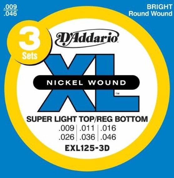 3 x struny do gitary elektrycznej D'ADDARIO EXL125-3D (3-pack) /009-046/