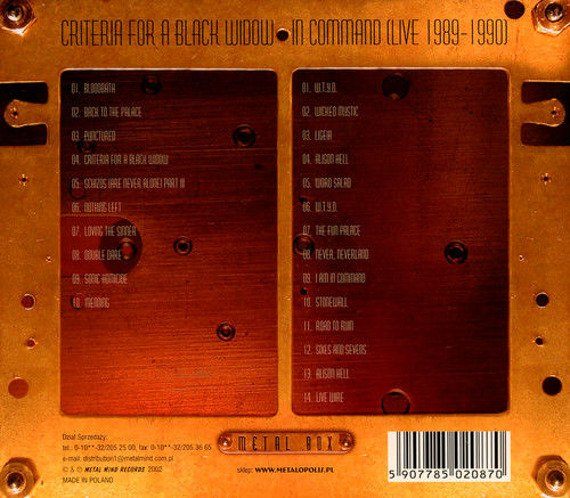 ANNIHILATOR: CRITERIA FOR A BLACK WIDOW / IN COMMAND LIVE 1989-1990 (2CD)