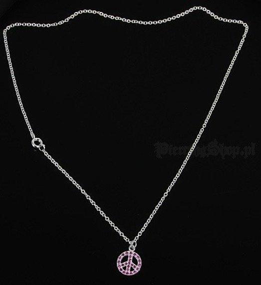 Srebrny łańcuszek z wisiorkiem PACYFKA oczko różowe [SPE-50]