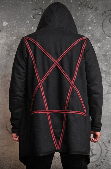 bluza AMENOMEN - PENTAGRAM RED, z kapturem
