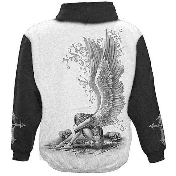 bluza ENSLAVED ANGEL czarno-biała, z kapturem