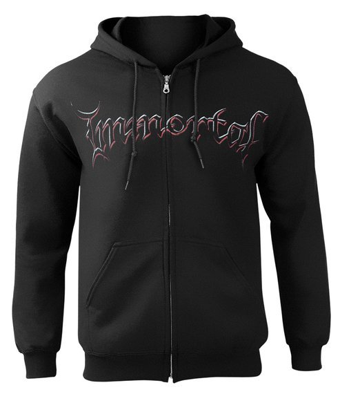 bluza IMMORTAL - DAMNED IN BLACK, rozpinana z kapturem