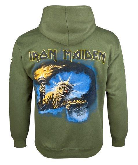bluza IRON MAIDEN, kangurka z kapturem, oliwkowa