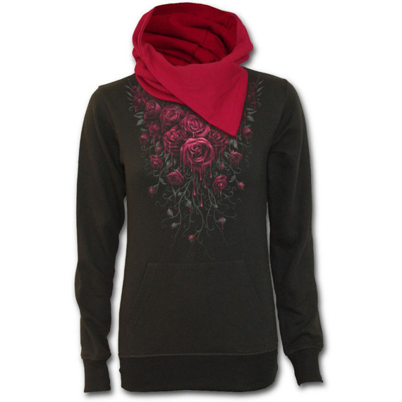 bluza damska BLOOD ROSE czarna, z kapturem
