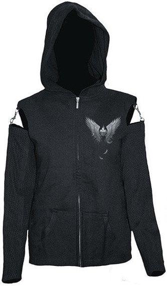 bluza damska ENSLAVED ANGEL czarna, rozpinana z kapturem