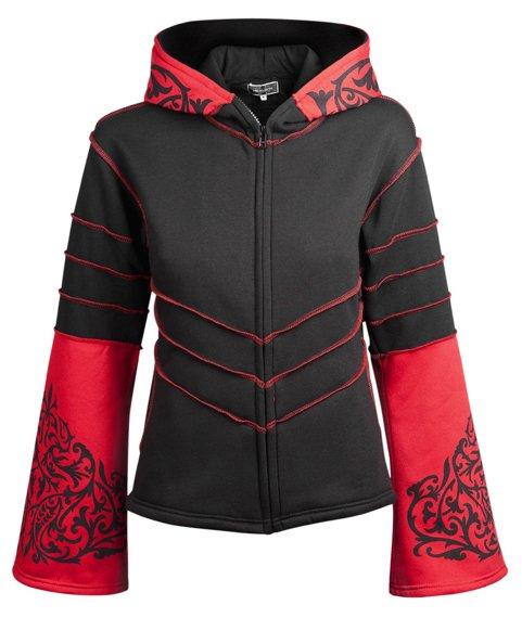 bluza damska HEXAGON - BLACK & RED rozpinana, z kapturem