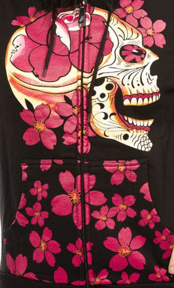 bluza damska IRON FIST - SIESTA SKULL, rozpinana z kapturem
