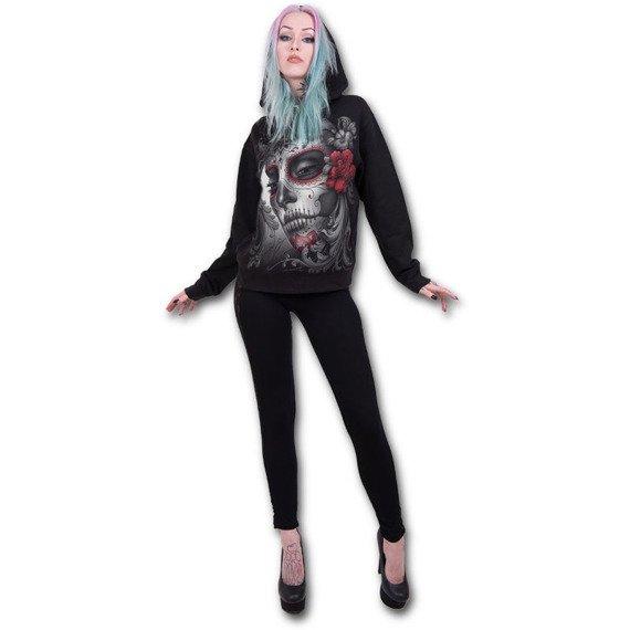 bluza damska SKULL ROSES czarna, z kapturem