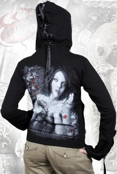bluza damska STONE COLD czarna, z kapturem