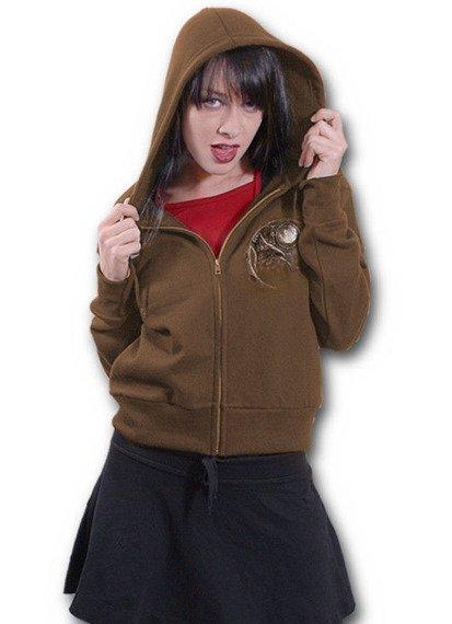 bluza damska WOLF DREAMS brązowa, rozpinana z kapturem