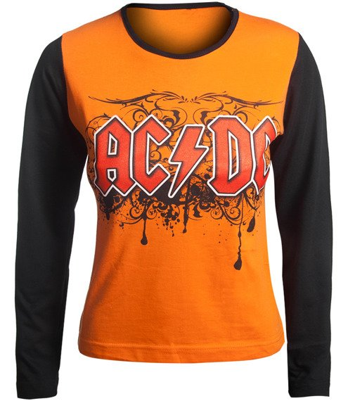 bluzka damska AC/DC długi rękaw, pomarańczowa